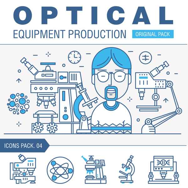 Optical laboratory thin line vector material 04