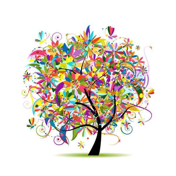 Beautifule floral tree vector material 02