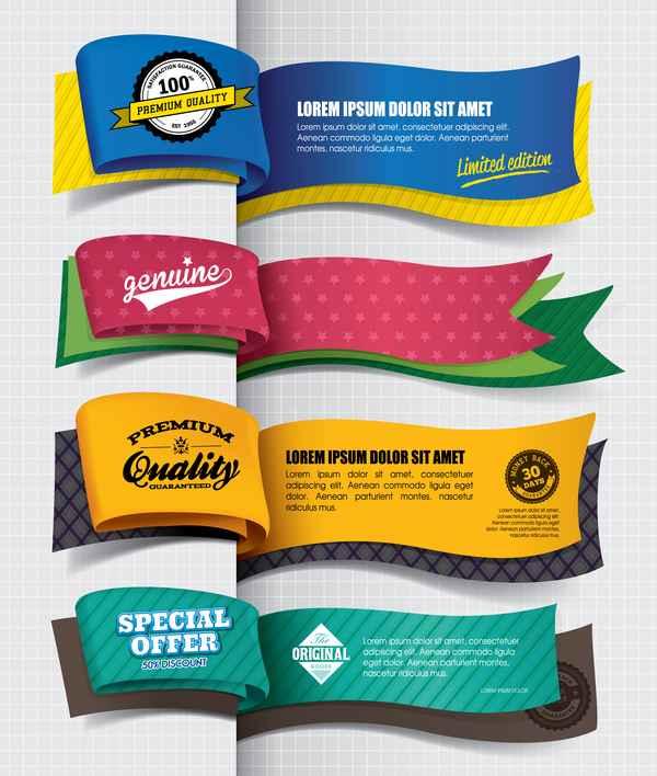 Paper banner vintage vector design 01