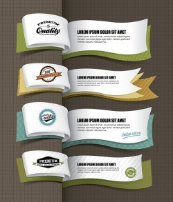 Paper banner vintage vector design 02