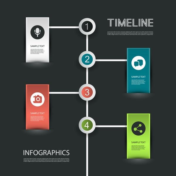 Dark timeline infographic vector material 02