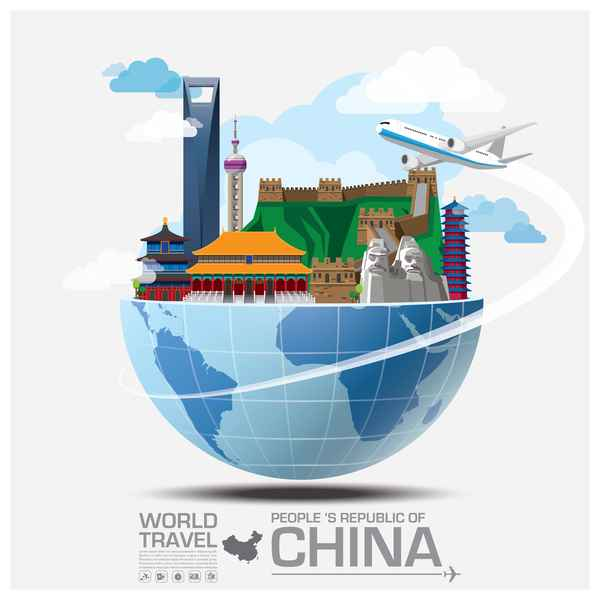 World travel of china vector template