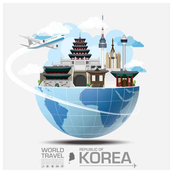 Korea travel vector template 01