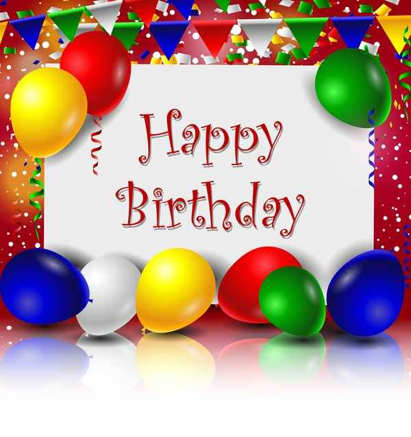 Birthday card with colored balloons and blank paper vector 02
