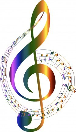 Chromatic Musical Notes Typography No Background Icons PNG