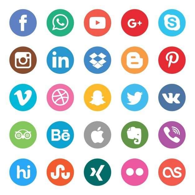 Colors social buttons set