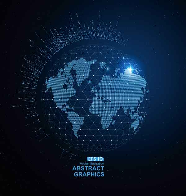 Earth and technology abstract vector