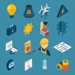 Electricity Isometric Icons