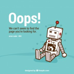 404 error background with robot