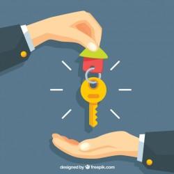 Flat hand holding house key background