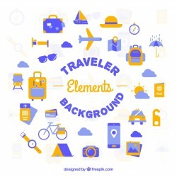 Flat travel elements background