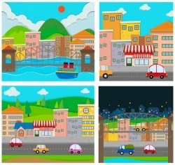Four scenes of the city