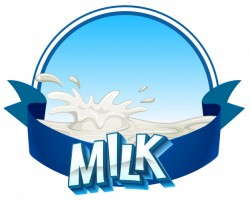Fresh milk with text on banner