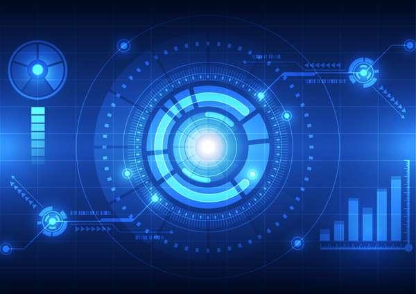 Futuristic tech background template vector 02