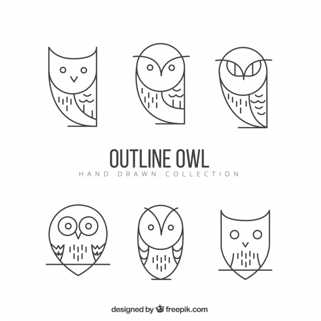Geometric outline owl pack