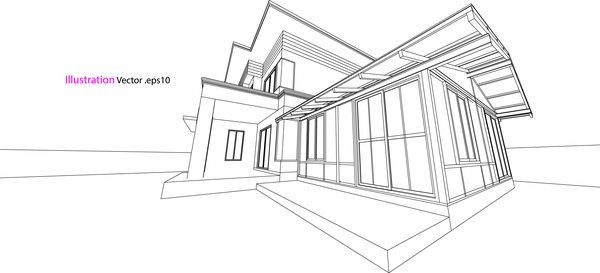 Glass house structure architecture vector illustration 01