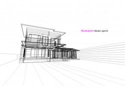 Glass house structure architecture vector illustration 03