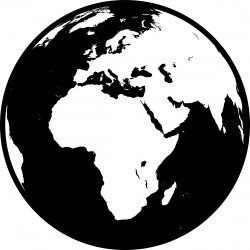 Globe showing Africa, Asia and Europe in black and white (detailed) Icons PNG