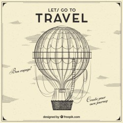 Hand drawn travel background with balloon