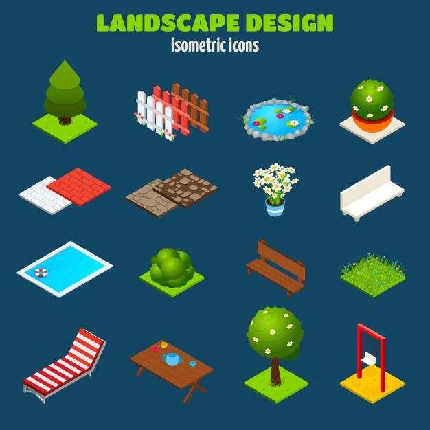 Landscape Design Isometric Icons