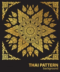 line thai gold pattern