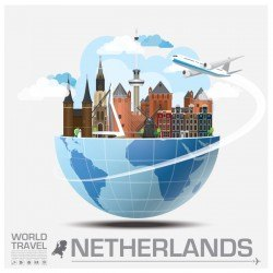 Netherlands travel vector template