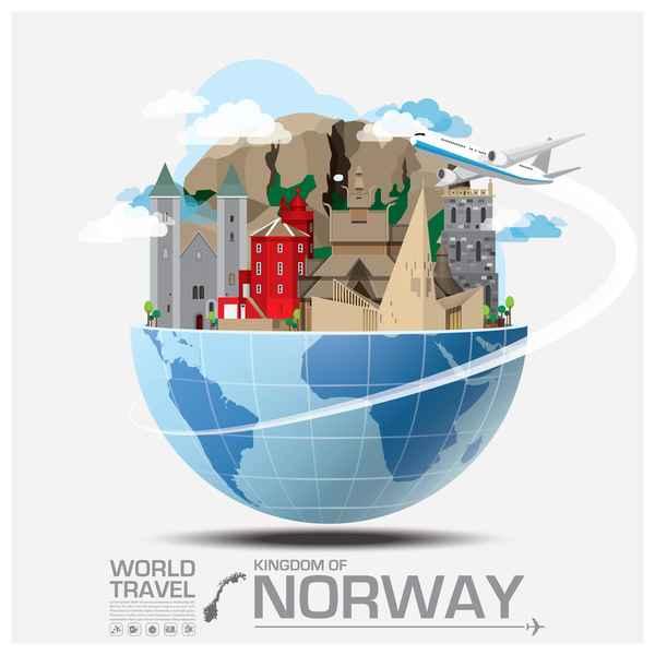 Norway travel vector template
