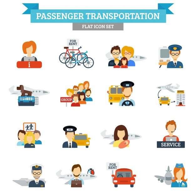 Passenger Transportation Icon Flat