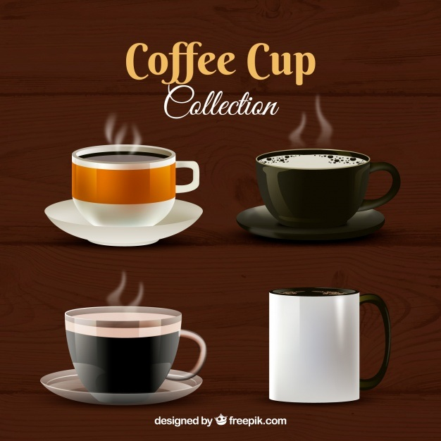 Realistic coffee cup collection