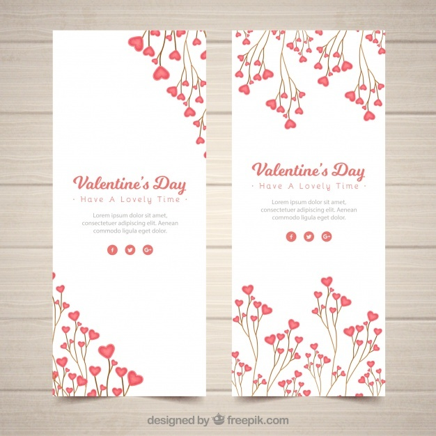 Realistic valentine's day banners