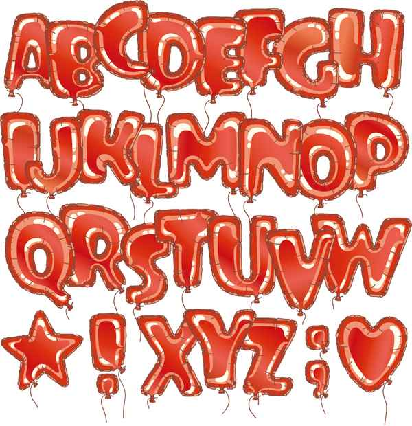 Red balloon alphabet vector