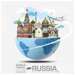 Russia travel vector template