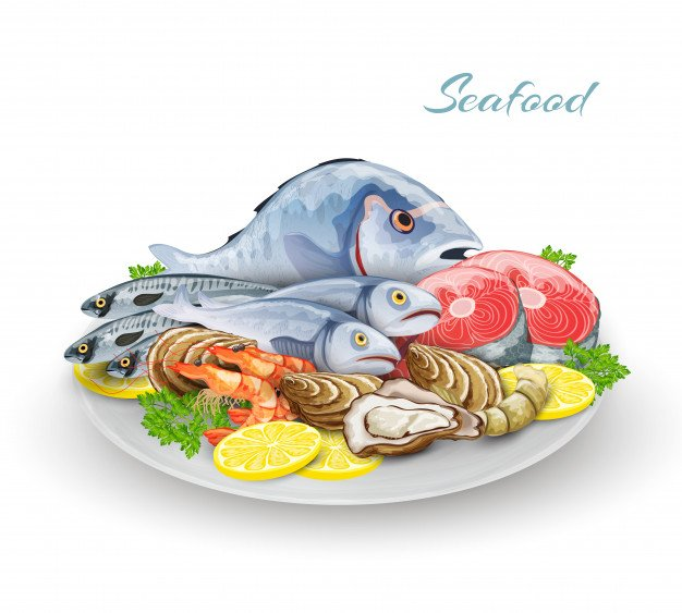 Seafood Plate Composition