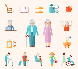 Senior Lifestyle Flat Icons