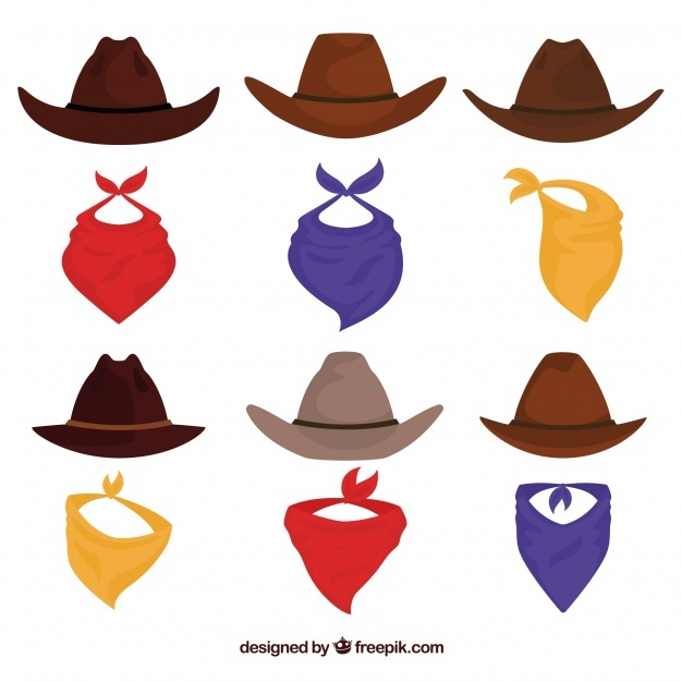 Set of cowboy hats and scarf