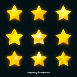 Set of shiny yellow stars