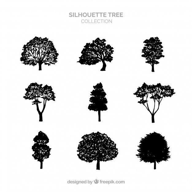 Silhouette tree collection of nine