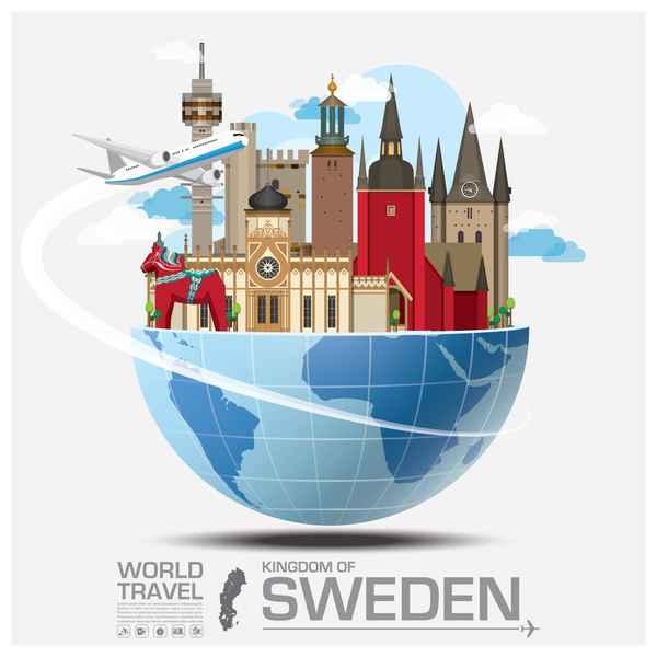 Sweden travel vector