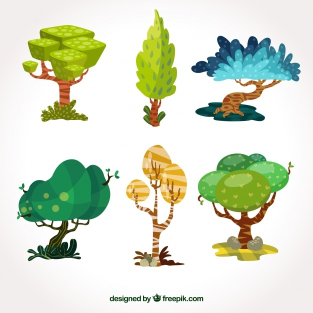 Trees collection in flat style