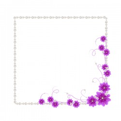 Violet mallow flowers with Jewelry frame vector 03