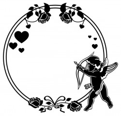 Cupid with valentine decorative silhouettes vector 09