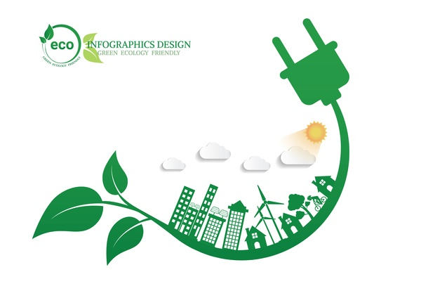 Green ecology friendly infographic design vector 14