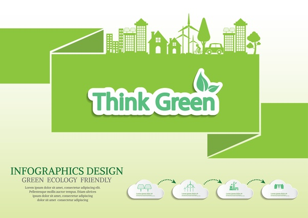 Green ecology friendly infographic design vector 02