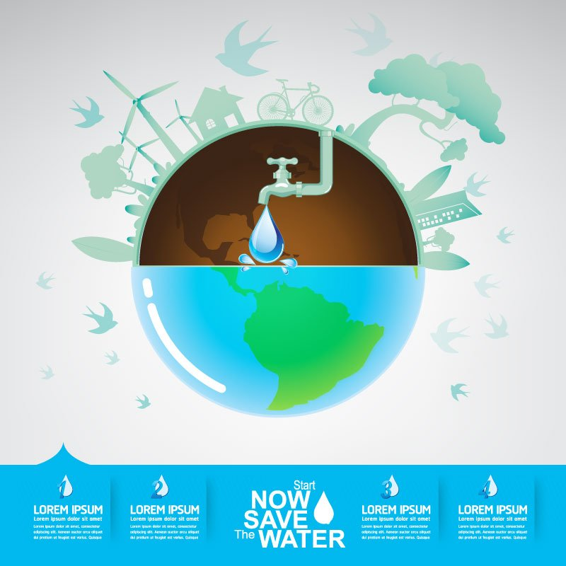 Start now save the water infographic vector 17