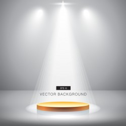 Spotlight effect background with gold podium vector 06