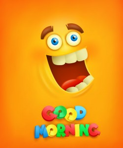 Good morning text with smiley emoticon yellow face vector 02