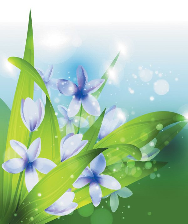 Spring blue flower with green leaves backgrounds vector