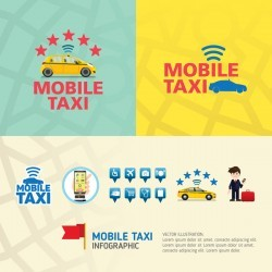 Mobile taxi service application infographic vector 08