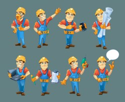 Cartoon construction worker vector material 04