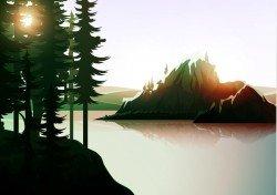 Summer forest landscape vector material 13